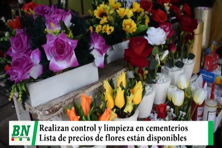Municipio realiza control y limpieza en los cementerios mientras difunden lista de precios de flores