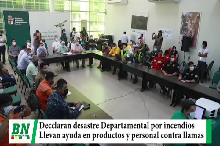 Declaran desastre Departamental por incendios forestales y envían ayuda en alimentos, brigadas médicas con bomberos