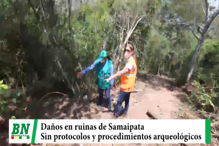 Inspección en obras a Ruinas de Samaipata mostró daños por violentar protocolos y procedimientos arqueológicos