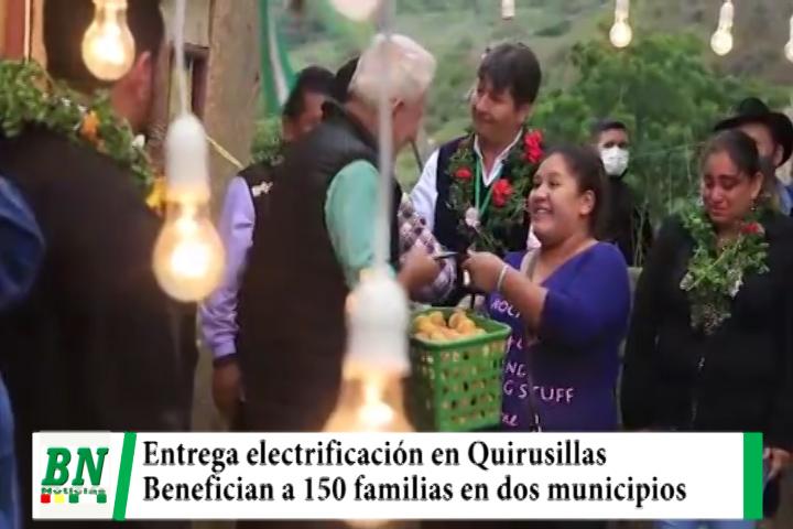 Costas entrega electrificación que beneficiará a 150 familias de Quirusillas y Samaipata