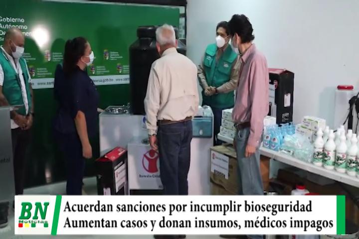 Alerta coronavirus, acuerdan sancionar por incumplir biosegurdad y mantienen horarios, donan insumos y piden pago a médicos