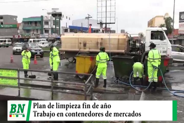 Municipio realiza limpieza en los contenedores de los mercados en su plan fin de año