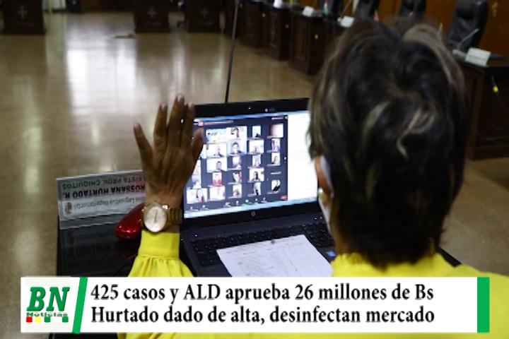 Alerta coronavirus, 425 casos y ALD aprueba 26 millones de Bs, Hurtado de alta, desinfectan mercado