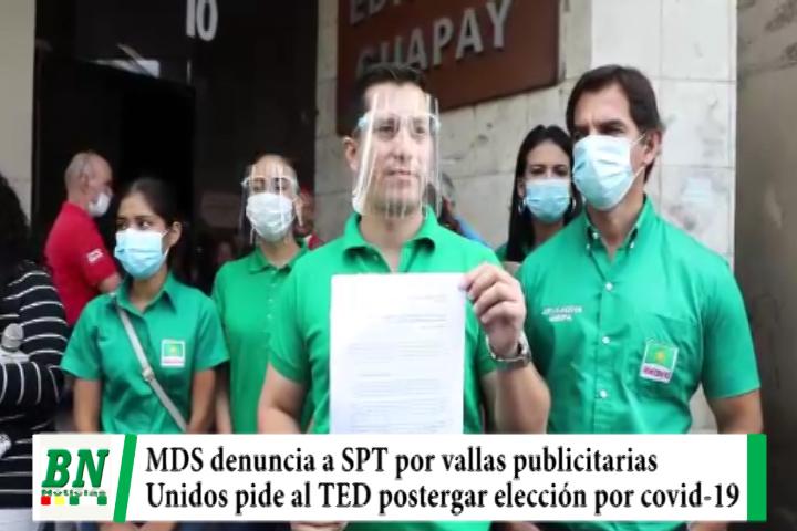 Campaña Demócratas 2021, denuncia a SPT por uso de obras en vallas, Unidos quiere posterguen elección