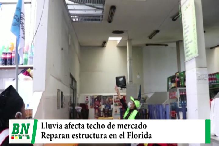 Techo del mercado Florida es dañado por lluvia y municipio lo repara