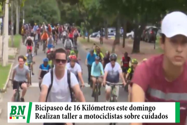 Bicipaseo de 16 kilómetros, taller a motociclistas sobre cuidados para evitar accidentes