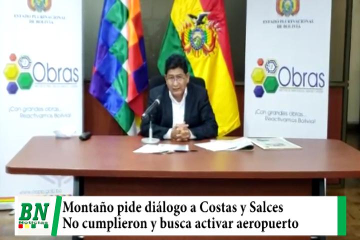 Montaño pide mesa de trabajo a Costas y Salces, los acusa de no cumplir compromisos por Aeropuerto de San Ignacio