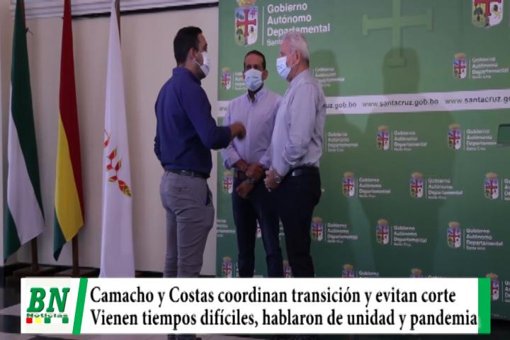 Camacho y Costas coordinan transición y continuidad a gestión, vienen tiempos difíciles y van por unidad