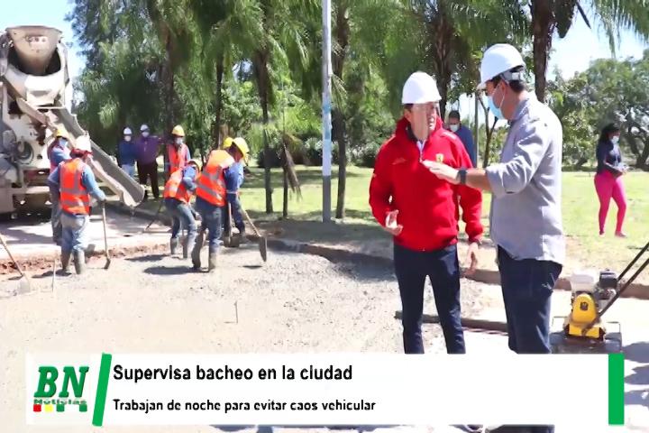 Alcalde Fernandez supervisa bacheo en avenidas de la ciudad y trabajos se realizan de noche
