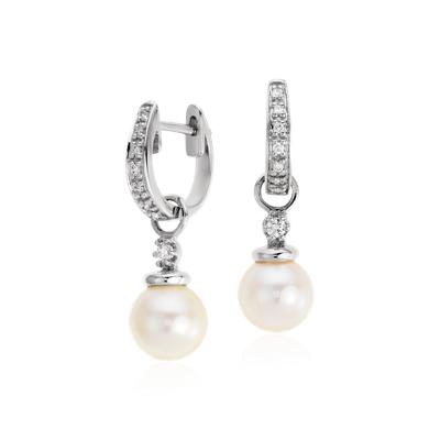 Akoya Cultured Pearl And Pav Diamond Drop Hoop Earrings