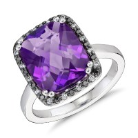Robert Leser Amethyst and Diamond Halo Ring in 14k White ...