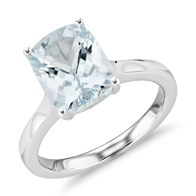 Aquamarine Cushion Cocktail Ring in 14k White Gold 10x8mm