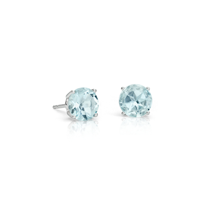 Aquamarine Stud Earrings In 14k White Gold 7mm Blue Nile