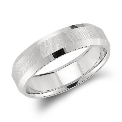 Beveled Edge Matte Wedding Ring In Platinum 6mm Blue Nile