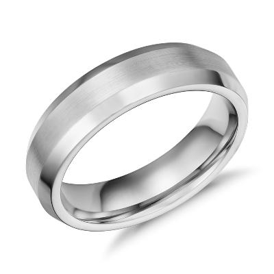 beveled edge matte wedding ring in cobalt 6mm