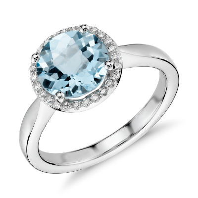 Blue Topaz And Diamond Petite Halo Ring In 14k White Gold