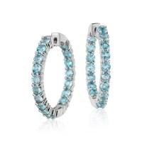 Swiss Blue Topaz Hoop Earrings in Sterling Silver (3mm ...