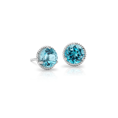 Blue Topaz Rope Stud Earrings In Sterling Silver 7mm