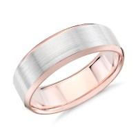 Brushed Beveled Edge Wedding Ring in 14k White and Rose ...