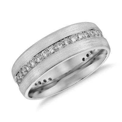 Brushed Diamond Eternity Mens Wedding Ring In Platinum 1