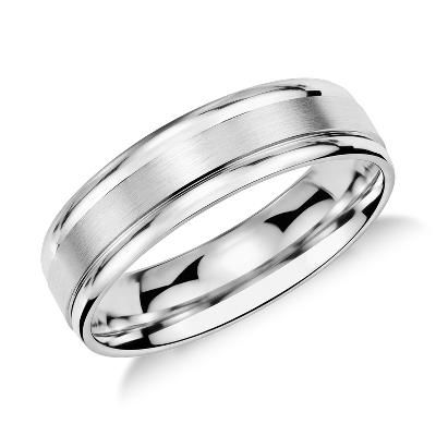 Brushed Inlay Wedding Ring in Platinum 6mm  Blue Nile