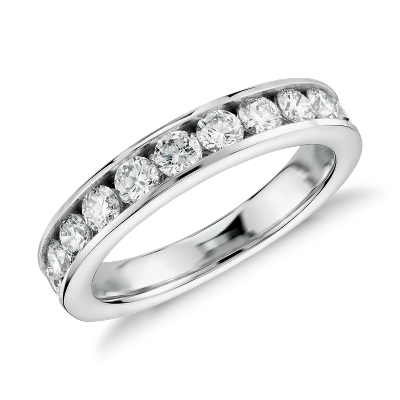 Channel Set Diamond Ring In 14k White Gold 1 Ct Tw