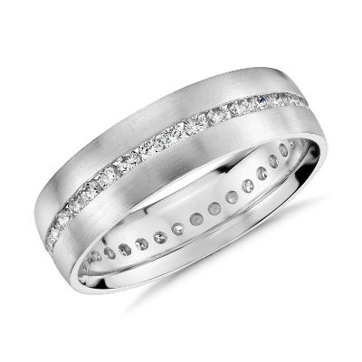Channel Set Diamond Eternity Ring In Platinum 6mm Blue