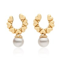 Estate Cultured Pearl and Diamond Earrings in 18k Yellow ...