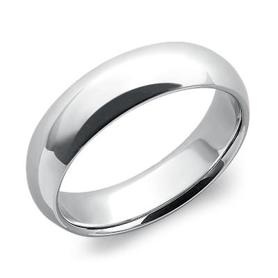 comfort fit wedding ring in platinum 6mm