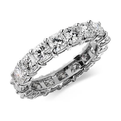 Cushion Cut Diamond Eternity Ring in Platinum 4 ct tw  Blue Nile