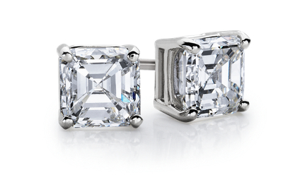Asscher Diamond Stud Earrings In 14k White Gold 1 2 Ct. Tw. Blue Nile