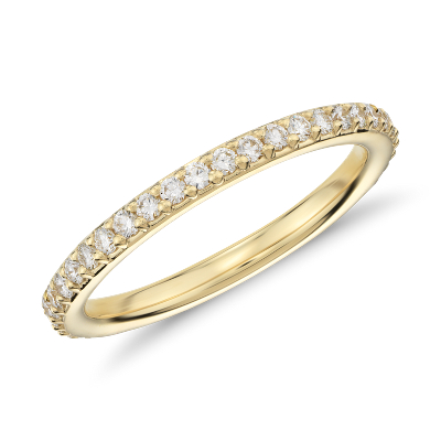Pav Diamond Eternity Ring In 18k Yellow Gold 12 Ct Tw