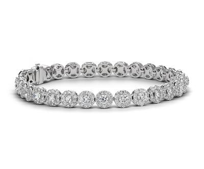 Diamond Halo Bracelet In 18k White Gold (8 Ct Tw)  Blue