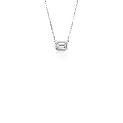Mini Bezel Set Emerald Cut Diamond Pendant In 14k White Gold 15 Ct Tw Blue Nile