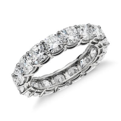Cushion Cut Diamond Eternity Ring In Platinum 5 Ct Tw