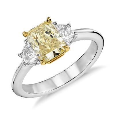 Fancy Yellow Three Stone Diamond Ring In Platinum And 18k