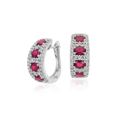Ruby And Diamond Hoop Earring In 14k White Gold 4x3mm