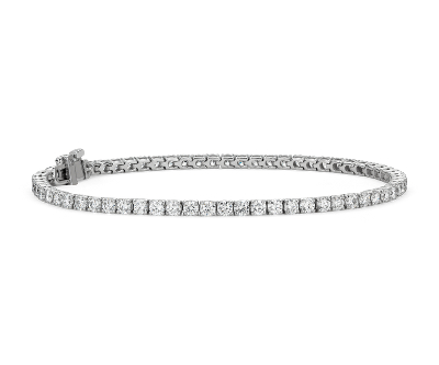 Diamond Tennis Bracelet In 18k White Gold F VS2 4 Ct