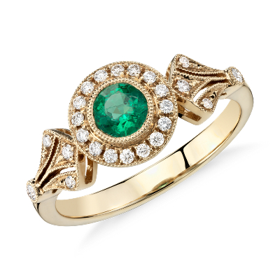 Emerald And Diamond Halo Vintage Inspired Milgrain Ring In