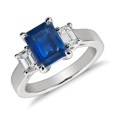 Emerald Cut Sapphire and Diamond Ring in Platinum 8x6mm  Blue Nile