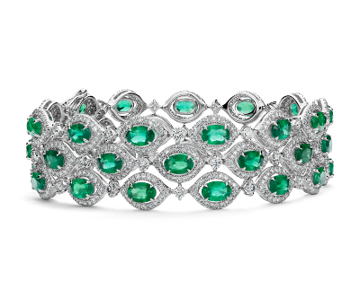 Triple Row Emerald and Diamond Halo Bracelet in 18k White Gold 6x4mm  Blue Nile