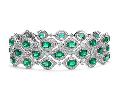 Triple Row Emerald and Diamond Halo Bracelet in 18k White