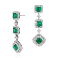 Square Cut Emerald and Diamond Triple Drop Earrings in 18k ...