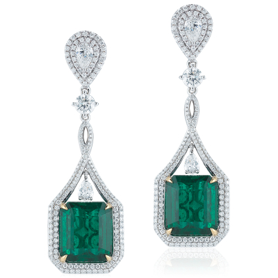Emerald and Diamond Drop Earrings in 18k White Gold 2405
