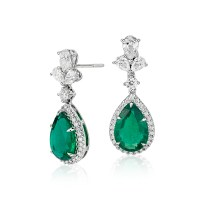 Emerald and Diamond Drop Earrings in 18k White Gold (4.7 ...