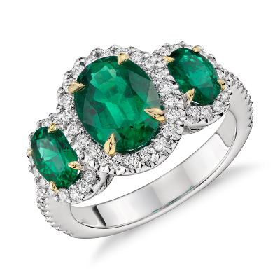 Three Stone Emerald And Diamond Halo Ring In 18k White And