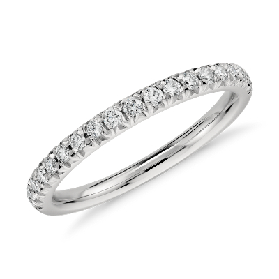 French Pav Diamond Ring In Platinum 14 Ct Tw Blue Nile