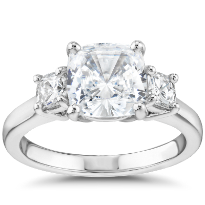 The Gallery Collection CushionCut ThreeStone Diamond Engagement Ring in Platinum  Blue Nile