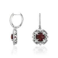 Garnet and Diamond Drop Earrings in 14k White Gold | Blue Nile