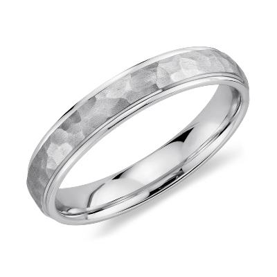 Hammered Wedding Ring In 14k White Gold 4mm Blue Nile